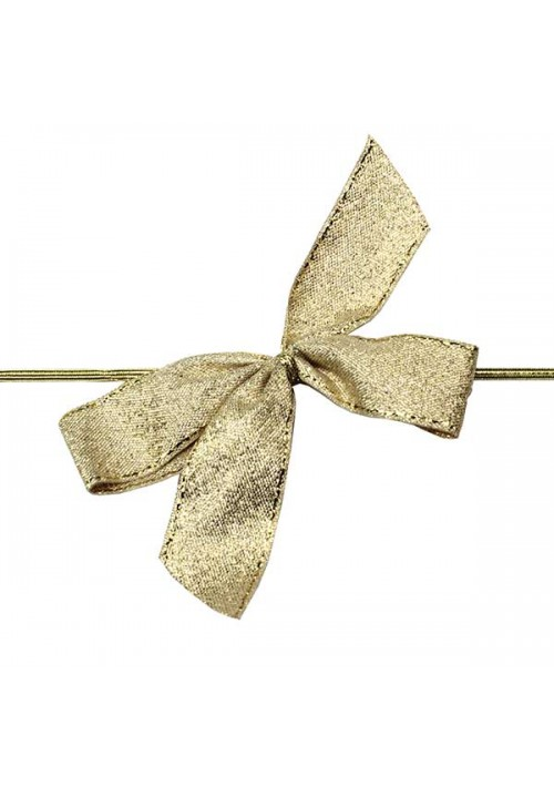 Gold Metallic Bow w/Stretch Tie (2 Loop: 3-1/2 Bow) - 100 per Case
