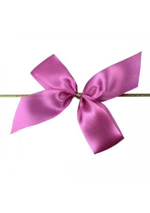 Pink Satin Bow w/Stretch Tie (2 Loop: 3-1/2 Bow) - 100 per Case