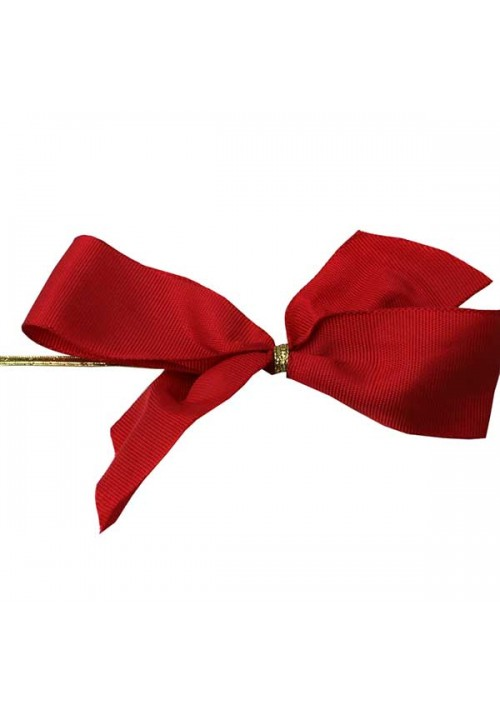 Red Satin Bow w/Stretch Tie (2 Loop: 3-1/2 Bow) - 100 per Case