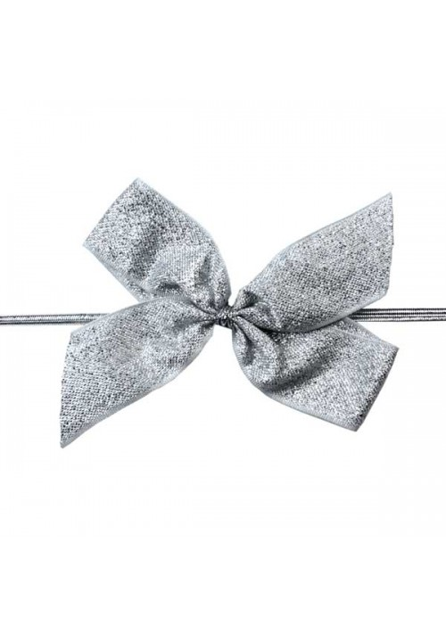 Silver Metallic Bow w/Stretch Tie (2 Loop: 3-1/2 Bow) - 100 per Case