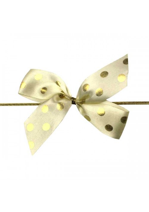 Vanilla/Gold Polka Dot Bow w/Stretch Tie (2 Loop: 3-1/2 Bow) - 100 per Case