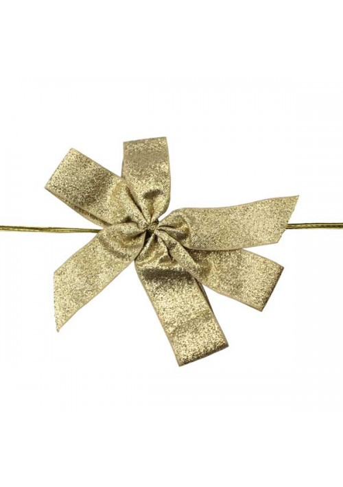 Gold Metallic Bow w/Stretch Tie (4 Loop: 5-1/2 Bow) - 50 per Case