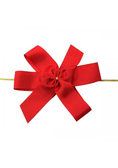 Red Bow w/Stretch Tie (4 Loop: 5-1/2 Bow) - 50 per Case