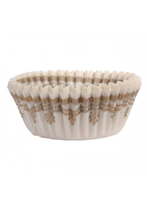 1-1/4 White/Gold Design Paper Cup - 1000 per Case