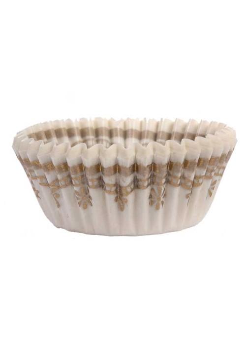 1-1/4 White/Gold Design Paper Cup - 1000 per Case