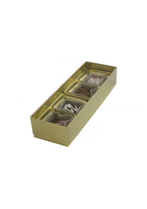 V202X2-2007 - 2 oz. Favor Box - Clear Vinyl Lid Candy Box - Gold Diamond