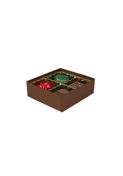 V204-2057 - 1/8 lb. Vinyl Lid Candy Box - Cocoa