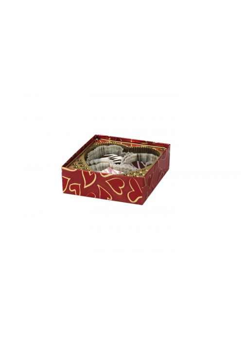 V204-2305 - 1/8 lb. Vinyl Lid Candy Box - Heart Pattern - 100 per case