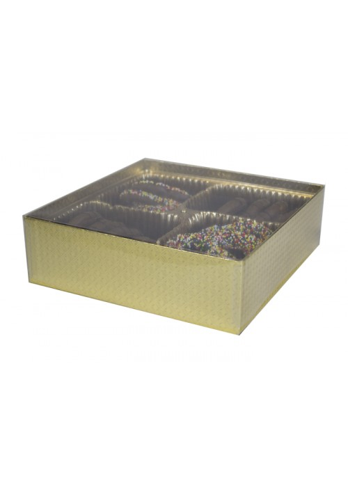 V207 - Clear Lid Candy Box - 30 Per Case - Gold Diamond