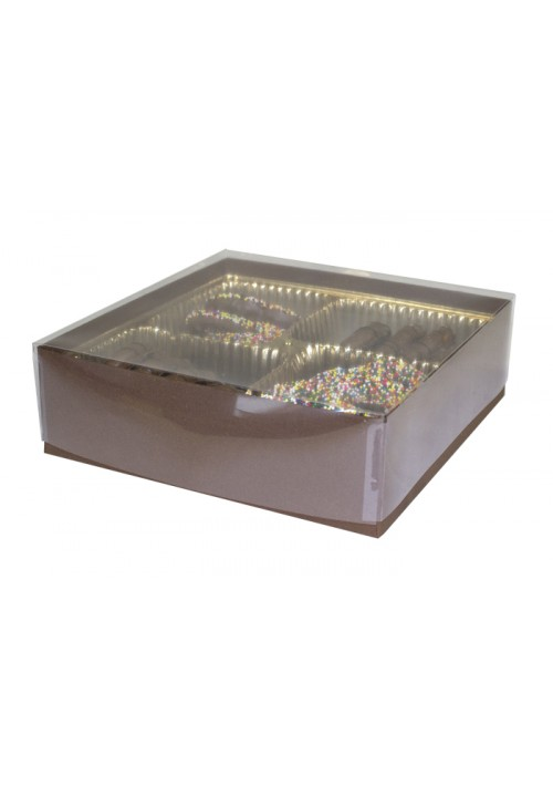 V207 - Clear Lid Candy Box - 30 per Case - Cocoa
