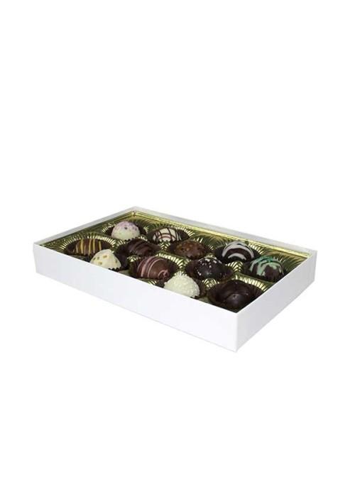 V215-005 - 1/2 lb. Vinyl Lid Candy Box - White Krome