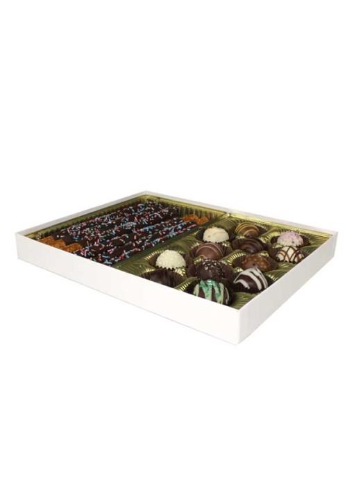 V230-005 - 1 lb. Vinyl Lid Candy Box - White Krome