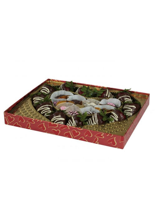 V230-2305 - 1 lb. Vinyl Lid Candy Box - Hearts Pattern - 50 per case