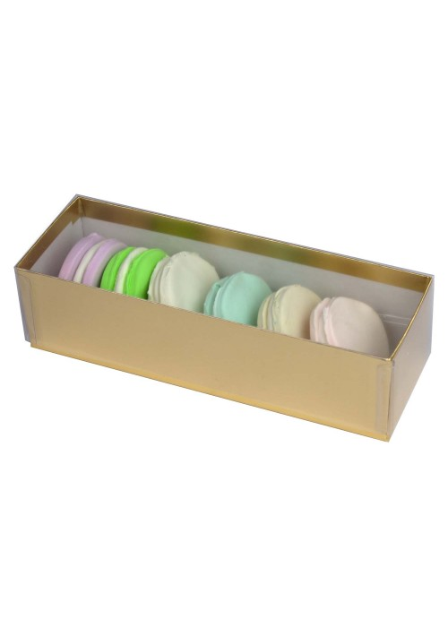 6 pc. Macaron Box w/ Clear Vinyl Lid - Gold