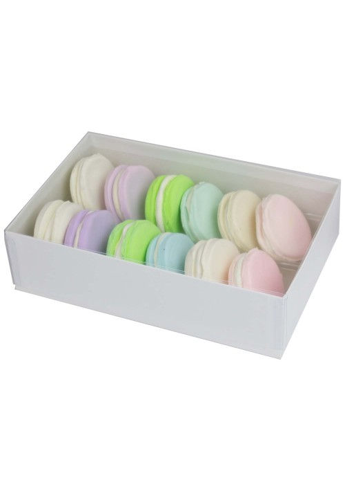 12 pc. Macaron Box w/ Clear Vinyl Lid - White Krome