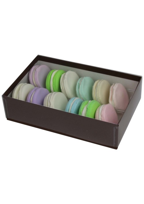 12 pc. Macaron Box w/ Clear Vinyl Lid - Black Onyx