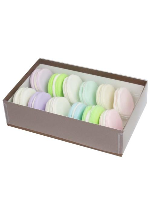 12 pc. Macaron Box w/ Clear Vinyl Lid - Cocoa