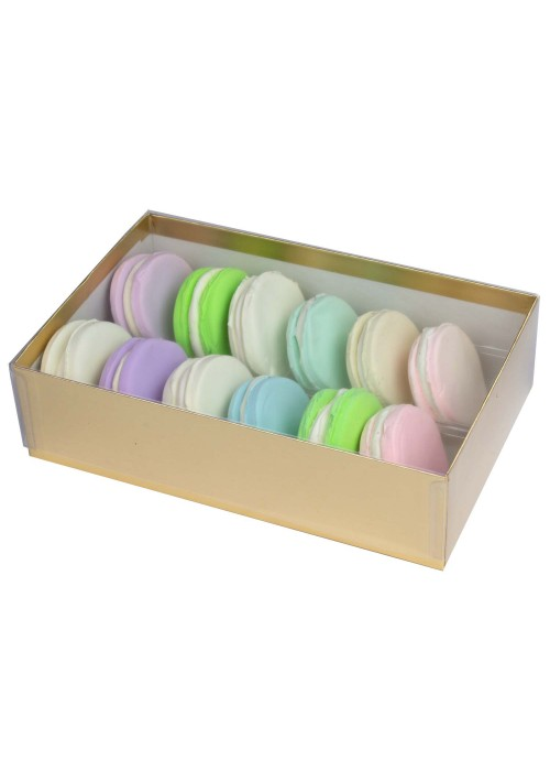 12 pc. Macaron Box w/ Clear Vinyl Lid - Gold
